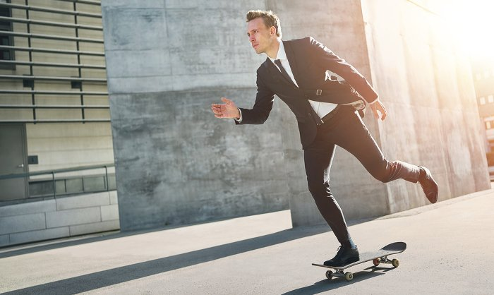 Businessman Skateboard