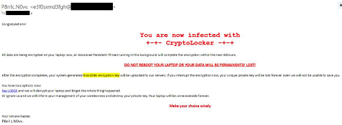 You are now infected with CryptoLocker