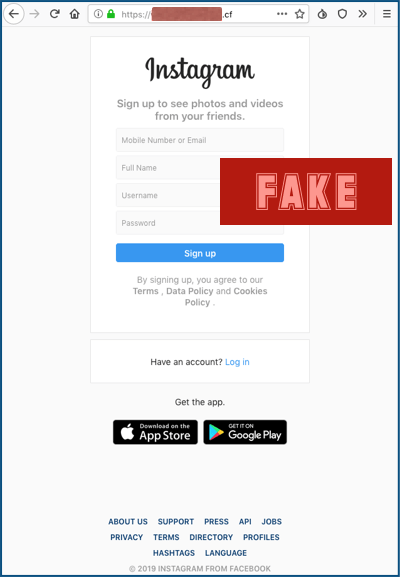 Instagram Fake Webseite