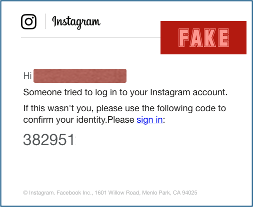 Instagram Phishing-Mail