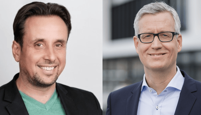 Ivo Totev (li.), Chief Product und Marketing Officer, und Andreas Engel, Vice President EMEA Central bei SUSE (Quelle SUSE)